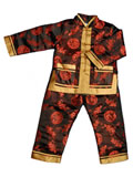 Boy's Long-Sleeved Blessing Dragons Wadded Mandarin Suit