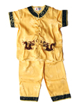 Boy's Short-Sleeve Dual-dragon Mandarin Suit