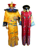Qing Emperor and Empress Court Dresses with Crowns for Couples