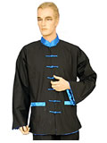 Folding Sleeves Kung Fu Shirt with Contrastive Patch Color