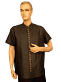 Short-Sleeved Longevity Midline Mandarin Shirt