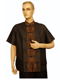 Short-Sleeved Longevity Patch Mandarin Shirt