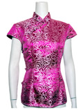 Short-Sleeved Rose Embroidery Mandarin Blouse