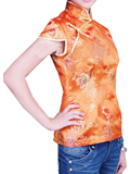 Short-sleeve Chrysanthemum Embroidery Mandarin Blouse