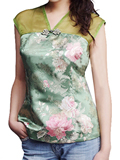 Sleeveless Blooming Floral Embroidery Mandarin Blouse