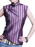 Sleeveless Vertical Stripes Mandarin Blouse