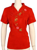 Bargain Item - Short-Sleeved Floral Embroidery Blouse