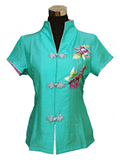 Short-Sleeved Butterfly Loving Flower Mandarin Blouse