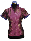 Short-Sleeved Golden Thread Flower Mandarin Blouse