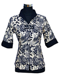 Elbow-Sleeved Floral Mandarin Blouse
