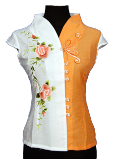 Short-Sleeve Peony and Butterfly Frog Mandarin Blouse