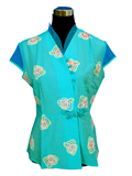 Short-Sleeve Rose and Butterfly Frog Mandarin Blouse