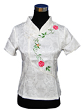 Short-Sleeve Floral Embroidery Mandarin Blouse