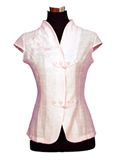 Short-Sleeve Peony and Phoenix Tail Frog Mandarin Blouse