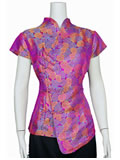 Short-Sleeved Rose Mandarin Blouse