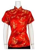 Short-Sleeved Plum Blossom Mandarin Blouse