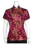Short-Sleeved Dragon and Phoenix Mandarin Blouse