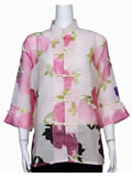 See-Through Floral Mandarin Blouse
