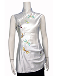 Sleeveless Dragonfly Mandarin Blouse