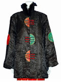 Half-Moon Brocade Wadded Mandarin Coat