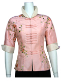 Elbow-Sleeve Floral Embroidery Mandarin Jacket