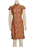 Short-Sleeved Golden Rose Cheongsam