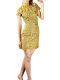 Short-Sleeved Floral Short Cheongsam