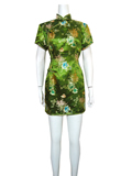Short-Sleeved Floral Longevity Short Cheongsam