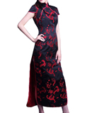 Short-sleeve Dragon Embroidery Cheongsam