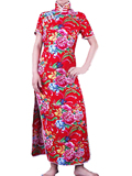 Short-sleeve Blooming Peonies Cheongsam