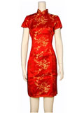 Short-Sleeved Plum Blossom Short Cheongsam