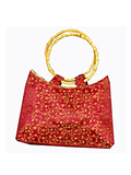 Brocade Handbag with Bamboo Ring Handles