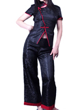 Short-sleeve Dragon Embroidery Mandarin Pant Suit