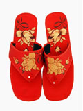 Chinese Tulip Brocade Thong Slippers