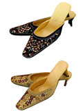 Multicolor Paillettes and Beads High-Heel Dress Shoes